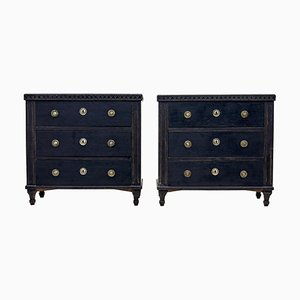 19th Century Swedish Black Painted Commodes, Set of 2