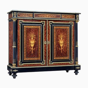 19th Century French Marble Top Inlaid Amboyna Sideboard