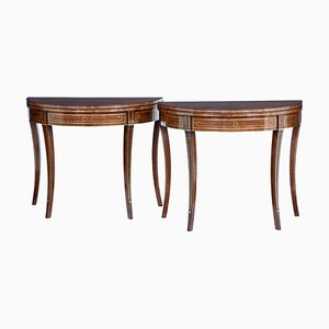 19th Century Mahogany and Brass Inlaid Tea Tables, Set of 2