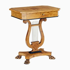 19th Century Birch Lyre Form Occasional Table