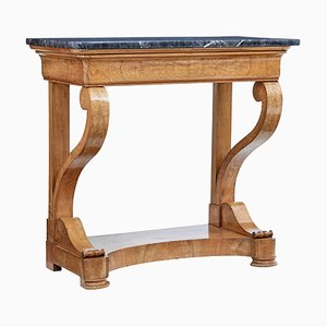 19th Century Swedish Elm Marble Top Console Table