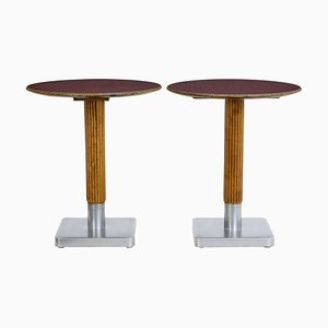 Mahogany and Steel Bistro Tables, 1970s, Set of 2