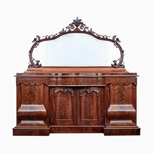 Victorian High Shaped Flame Mahogany Mirror Top Sideboard