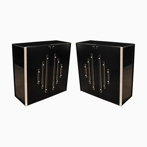 Tall Black Lacquer Cabinets, 1960s, Set of 2
