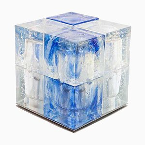 Italian Blue and Frosted Clear Glass Murano Cube Table Lamp by Poliarte, 1960s