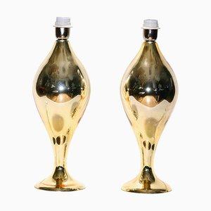 Goldfarbene verspiegelte Tischlampen aus geblasenem Glas, 1980er, 2er Set