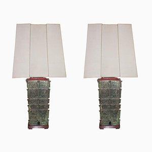 Große Bronze Pagoda Tischlampen, 1950er, 2er Set