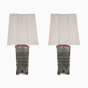 Large Bronze Pagoda Table Lamps, 1950s, Set of 2