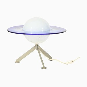 Lampe de Bureau Satellite Murano Bleue et Blanche en Verre, 1960s