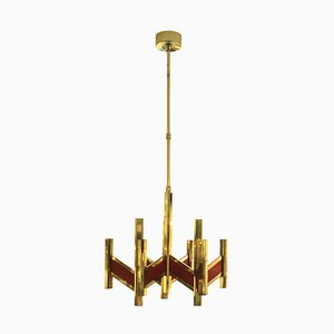 Mid-Century Red and Gold Chandelier by Gaetano Sciolari, 1970s
