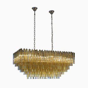 Rectangular Shape Amber Color Triedri Chandelier from Venini, 1960s