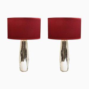 Rautenförmige Tischlampen, 1970er, 2er Set