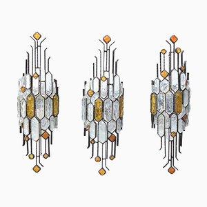 Wandlampen aus Gehämmertem Glas von Longobard, 1970er, 3er Set