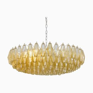 Amber Color Poliedri Chandelier by Carlo Scarpa for Venini, 1950s