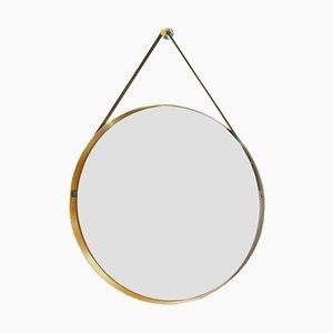 Gelber italienischer Vintage Trommel Spiegel