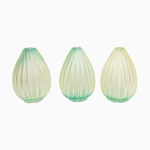Ribboned Blown Glass Vases, 1960s, Set of 3