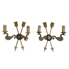 Vintage Empire Style Brass Wall Sconces