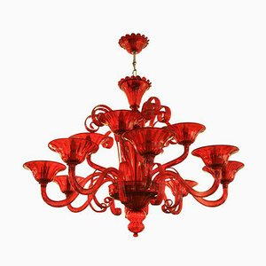 Campari Red 12-Light Venetian Chandelier by Cendese, 1970s