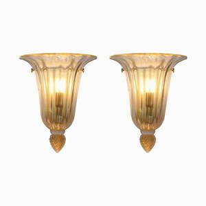 Mid-Century Gold and Clear Glass Wall Lights by Barovier & Toso, Set of 2