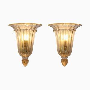 Mid-Century Wandlampen aus Gold & Klarglas von Barovier & Toso, 2er Set