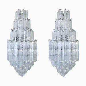 Große Vierriedri Glas Murano Wandleuchten von Venini, 1960er, 2er Set