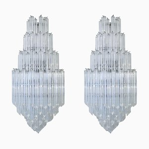 Large Quadriedri Glass Murano Sconces from Venini, 1960s, Set of 2