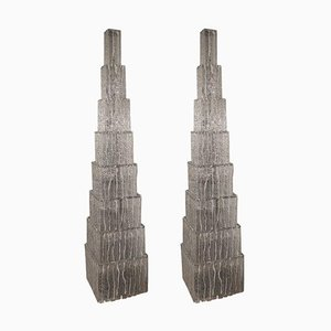 Pyramidenförmige Stehlampen aus Muranoglas, 1980er, 2er Set