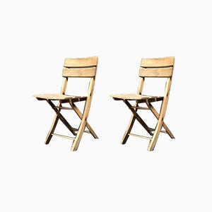 Wooden Folding Chairs, 1950s, Set of 2