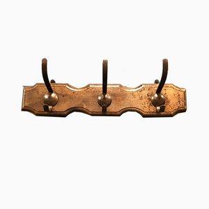 Oak Coat Rack with 3 Metal Hooks, 1920s
