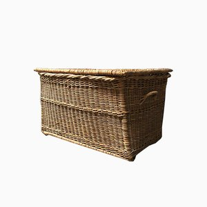 Large Braided Wicker Box, 1900s