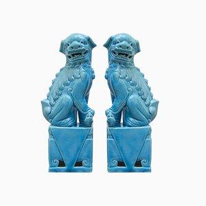 Keramik Fu Löwen, 1950er, 2er Set