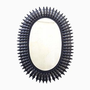 Vintage Black Sunburst Mirror