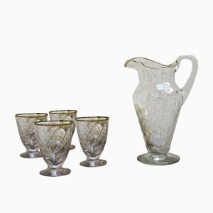 Glass Water Jug and Glasses Set, 1920s