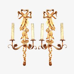 Vintage Gild Wood Sconces, Set of 2