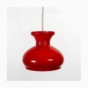Rote Deckenlampe aus Opalglas