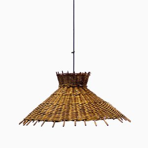 Wicker Pendant Lamp, 1980s