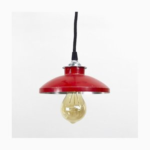 Red Metal Pendant Lamp, 1970s