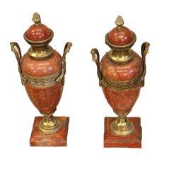 Urnas de mármol y bronce, siglo XIX