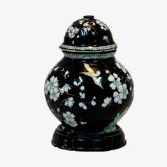 Lámpara de mesa francesa Art Déco de madera y porcelana