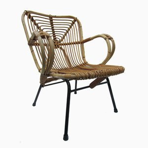 Mid-century Dutch Rattan Lounge Chair 1960s