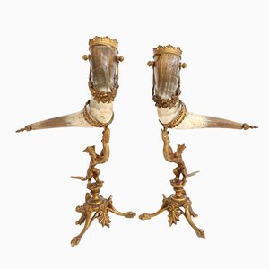 Vintage Mounted Horns, Set of 2