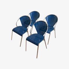 Stühle aus Chrom und Perforiertem Metall, 1980er, 4er Set