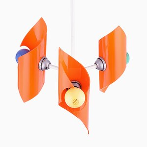 Vintage Pendant Light in Orange Plastic and Metal, 1960s