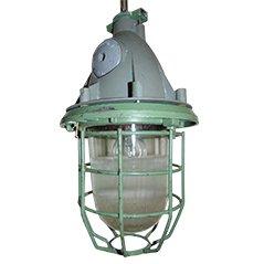 Industrie Bunker Deckenlampe mit Schutzgitter aus Stahl