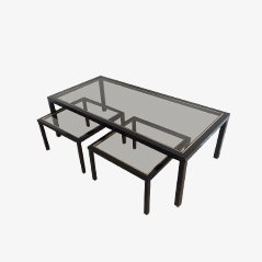 Table Basse en Laiton avec Paire de Tables d'Appoint, Set de 3