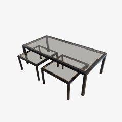 Tavolino da caffè in ottone con coppia di tavolini, set di 3