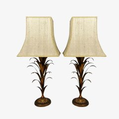 Große Brutalistische Goldfarbene Tischlampen, 2er Set