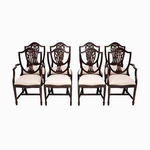 Antique Sheraton Style Mahogany Shield Back Dining Chairs, 1930s, Set of 8