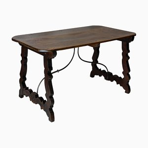Antique Spanish Iron and Walnut Coffee Table
