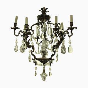 Antiker französischer Rokoko Kronleuchter aus Bronze & geschliffenem Glas